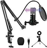 USB Mikrofon, VANBAR Professioneller 192KHz/24 Bit USB PC Laptop Mikrofon Kondensator Microphone Kit mit Verstellbarem Mikrofonarm, Stoßdämpferhalterung, für Aufnahme, Podcasting, Streaming, YouTube