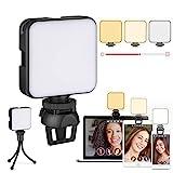 Videokonferenz-Beleuchtungsset, Laptop-Licht, Zoom-Beleuchtung mit Clip und Ständer, Webcam-Ringlicht für Zoom-Meetings, Fernarbeit, Make-up, Fotografie (Dimmbar und Wiederaufladbar)