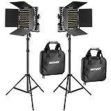 Neewer 2 Stücke Bi-Farbe 660 LED Videoleuchte und Ständer-Kit: (2) 3200k-5600K CRI 96+ Dimmabres Licht mit U Halterung und Barndoor (2) 2m Lichtständer für Studio Fotografie, Video Aufnahmen