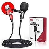 Pixel MFi Lavalier Mikrofon für iPhone/iPad, Omnidirektionales Aufnahme und HiFi-Klangqualität Ansteckmikrofon mit 2 M Kabel für YouTube Vlogs Videoaufnahme und Podcast Aufzeichnung