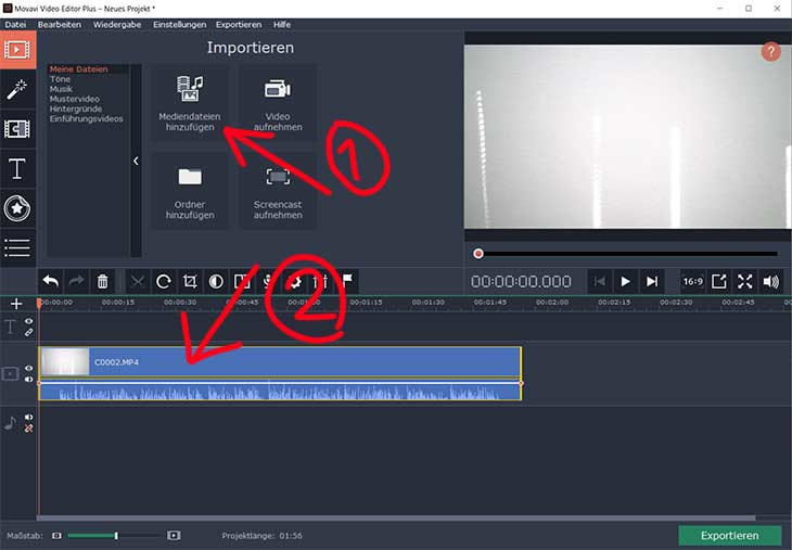 Videos importieren im Movavi Video Editor 15 plus
